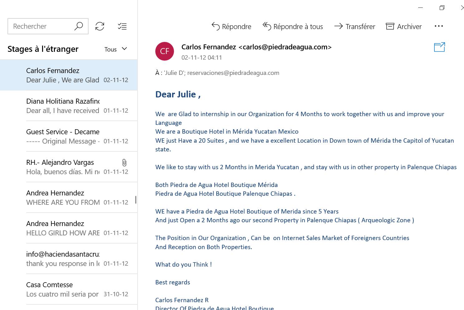 Recherche de stage à l'étranger email 12
