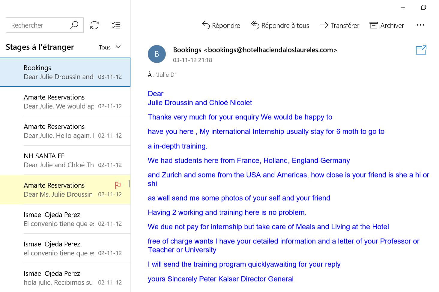 Recherche de stage à l'étranger email 14