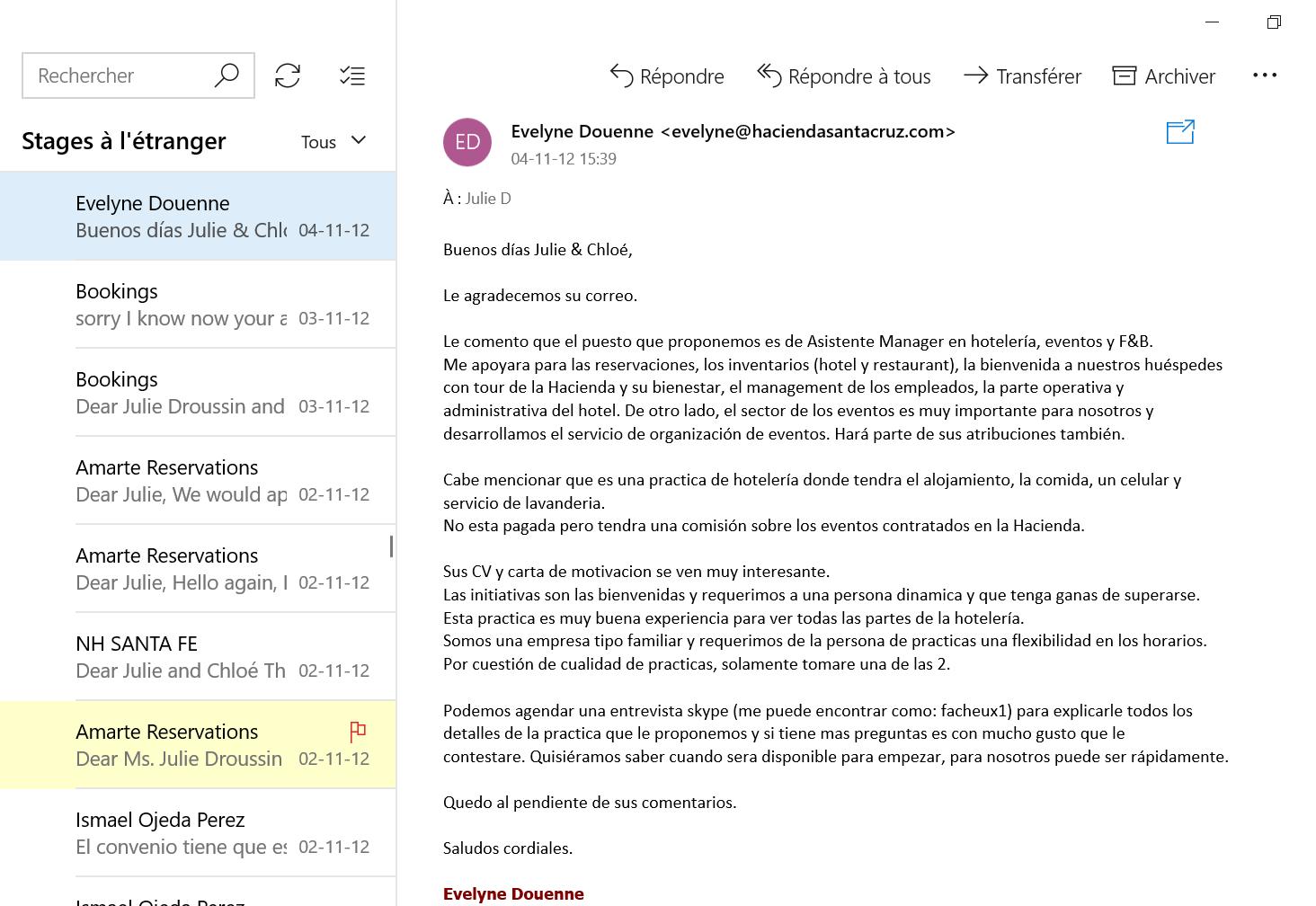 Recherche de stage à l'étranger email 15
