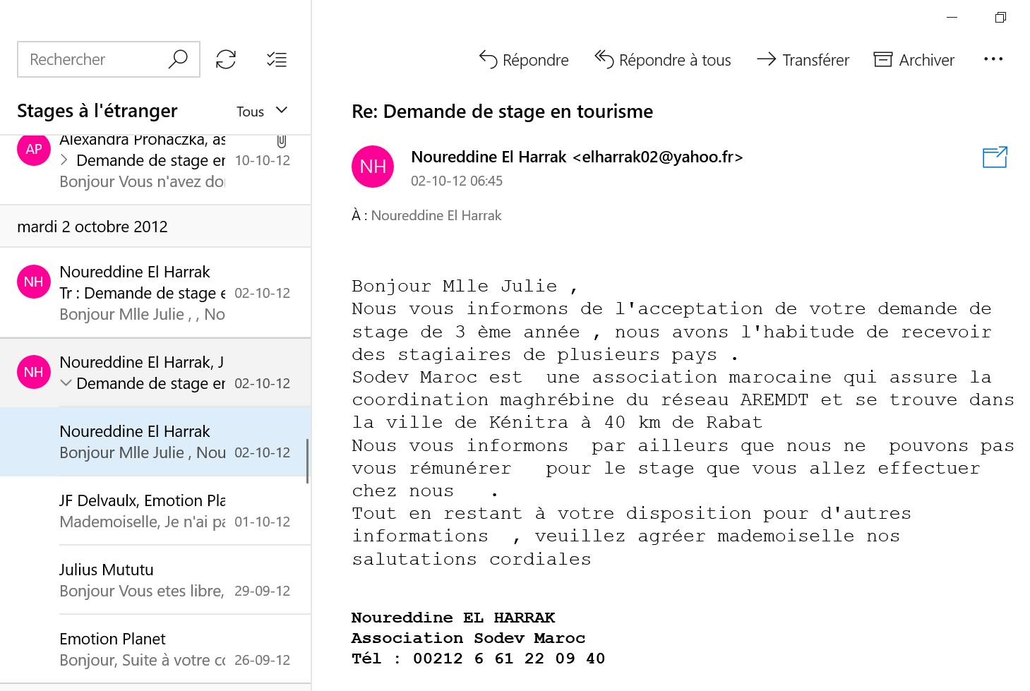 Recherche de stage à l'étranger email 2