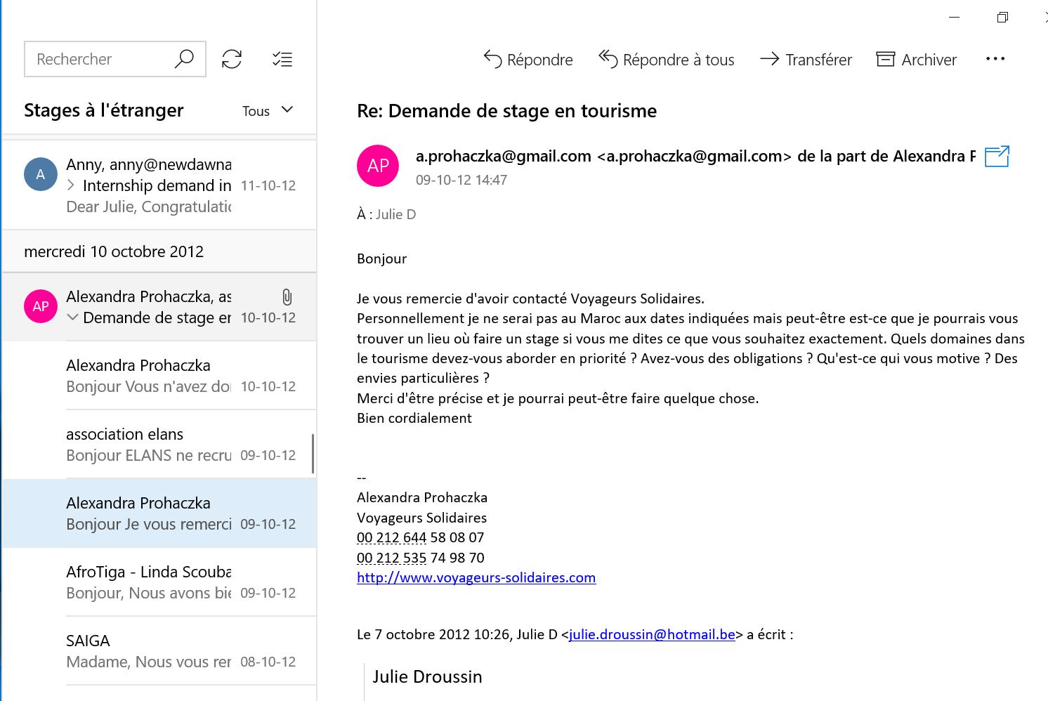 Recherche de stage à l'étranger email 3
