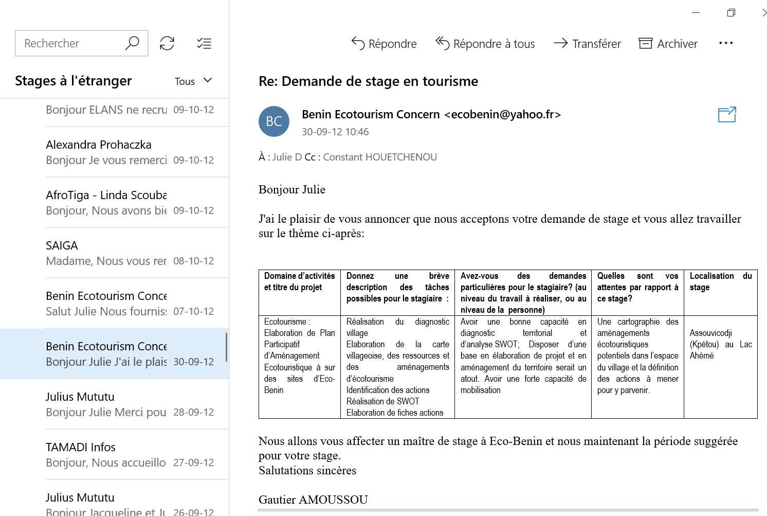 Recherche de stage à l'étranger email 5