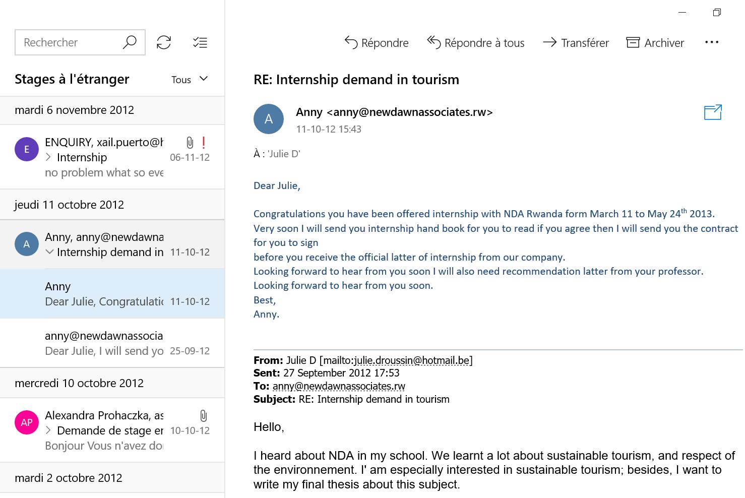 Recherche de stage à l'étranger email 6