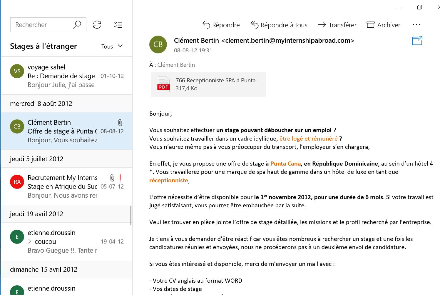 Recherche de stage à l'étranger email 7