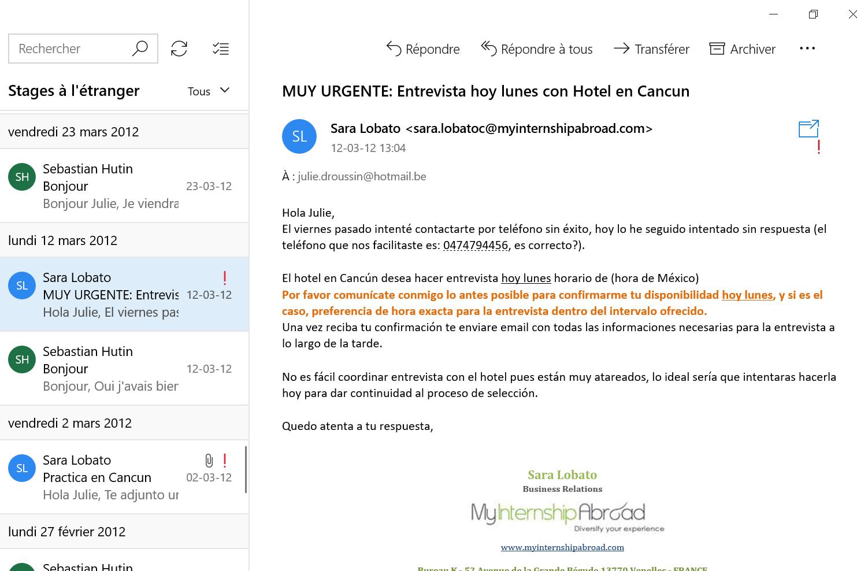 Recherche de stage à l'étranger email 8